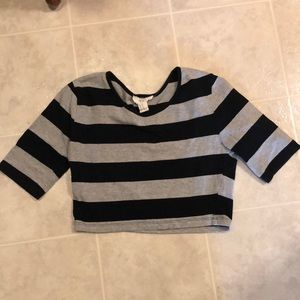 Grey and black striped Forever 21 crop top